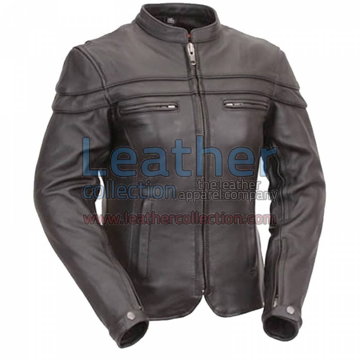 Leather Rider Touring Jacket with Sleeve & Pocket Vents