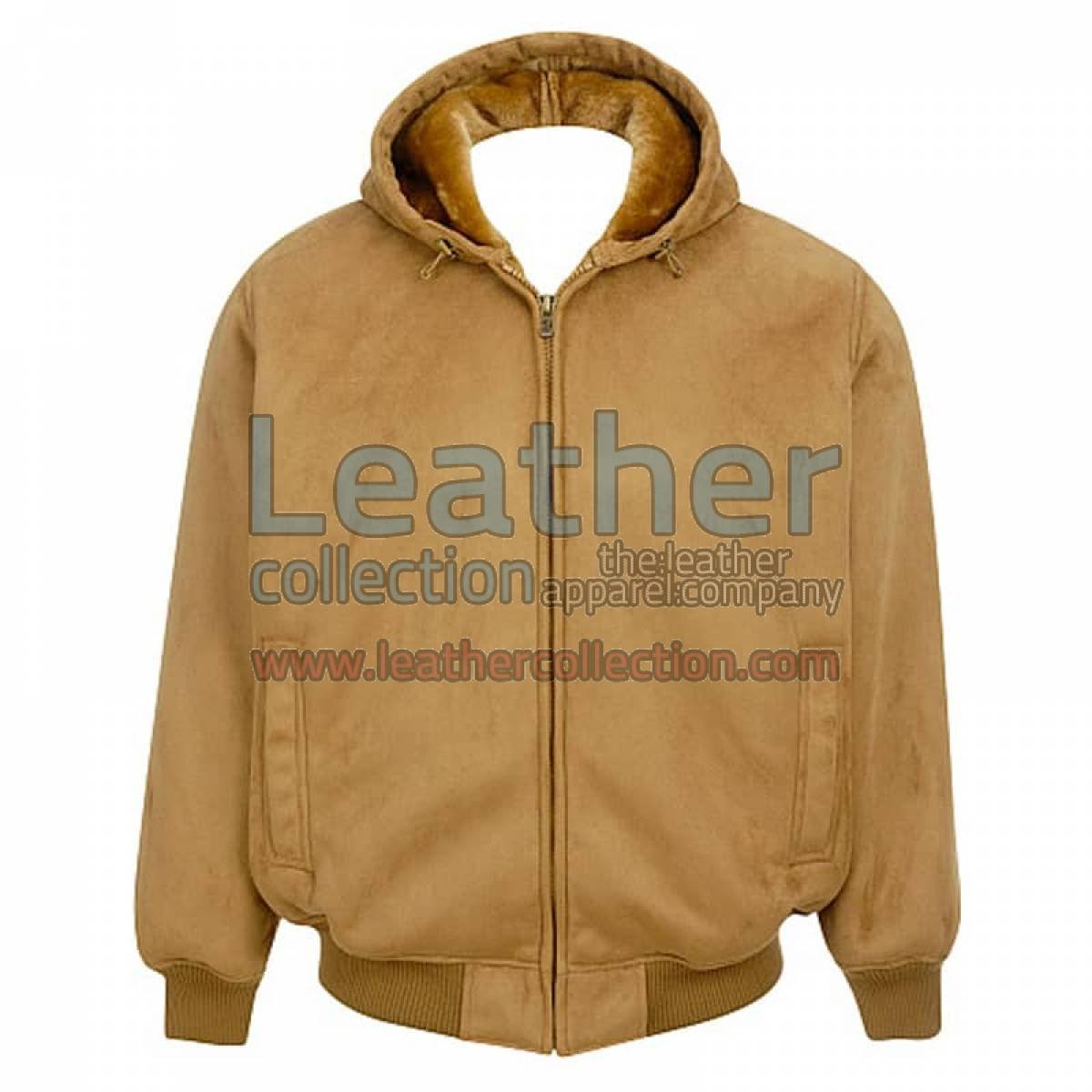 Leather Shearling Hooded Bomber