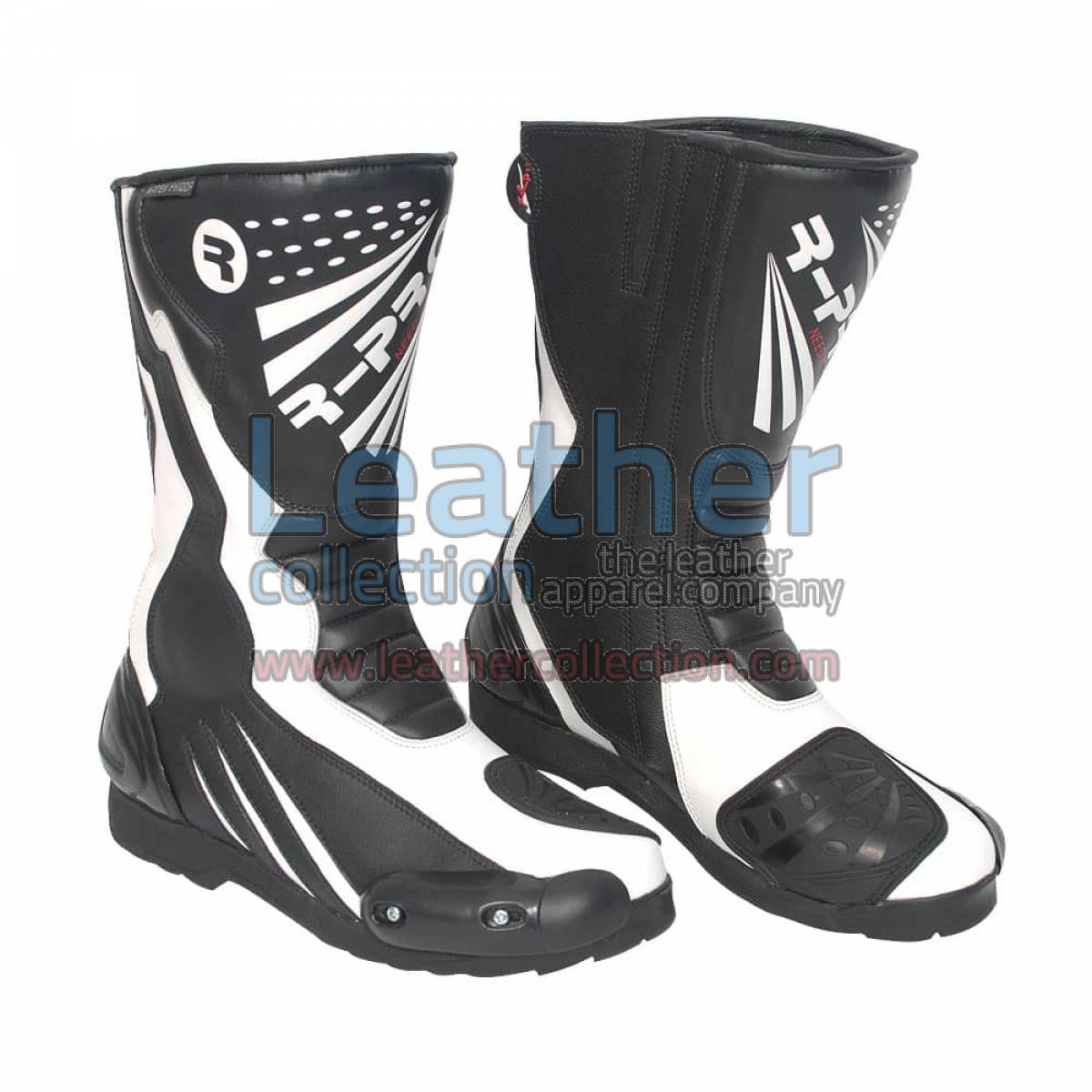 Legend Leather Moto Boots Black & White