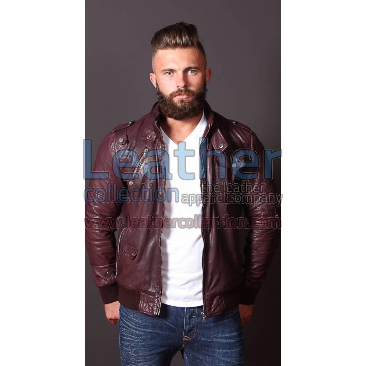 Men Boston Leather Bomber Jacket