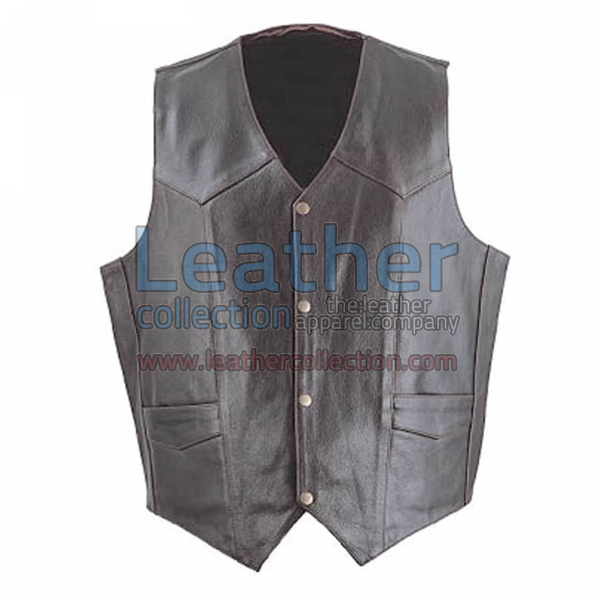 Men Brown Classic Leather Vest