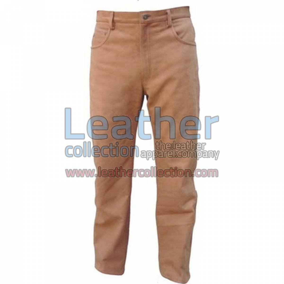 Men Leather Five Pocket Pant