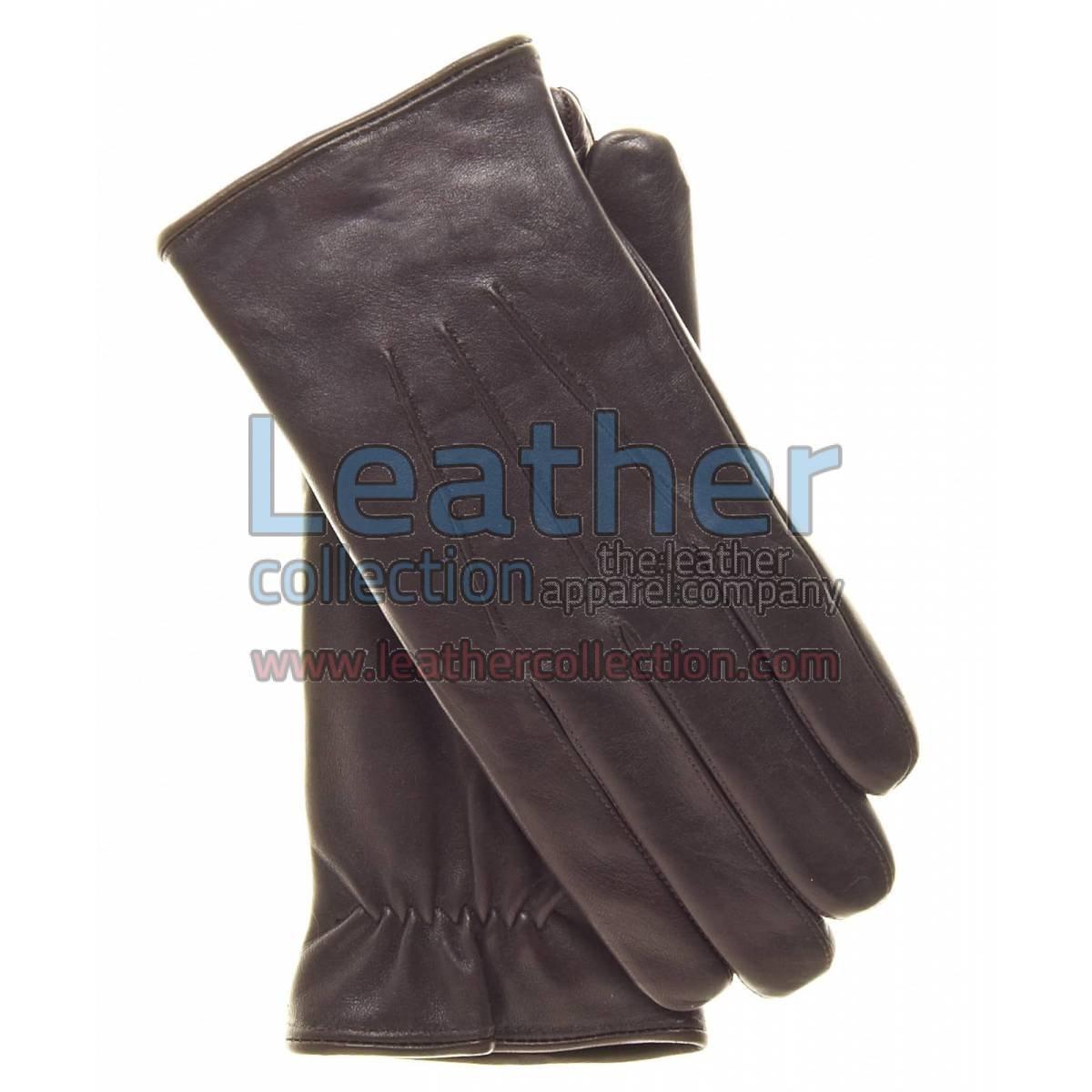 Mens Brown Winter Gloves of Lambskin