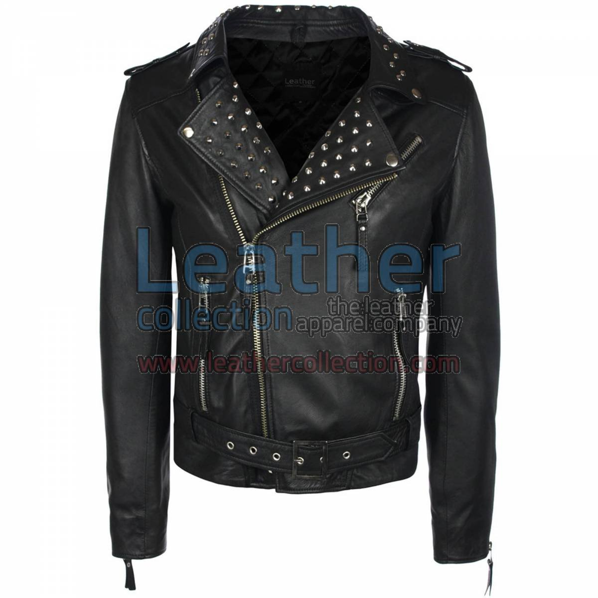 Mens Studded Collar Leather Jacket