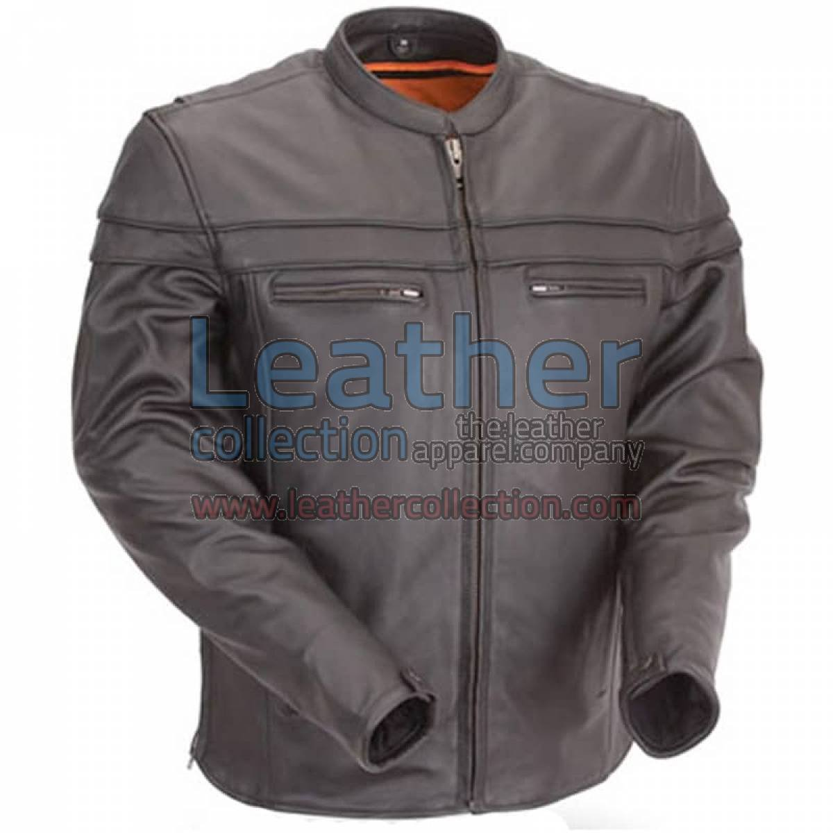 Moto Biker Jacket with Mandarin Collar