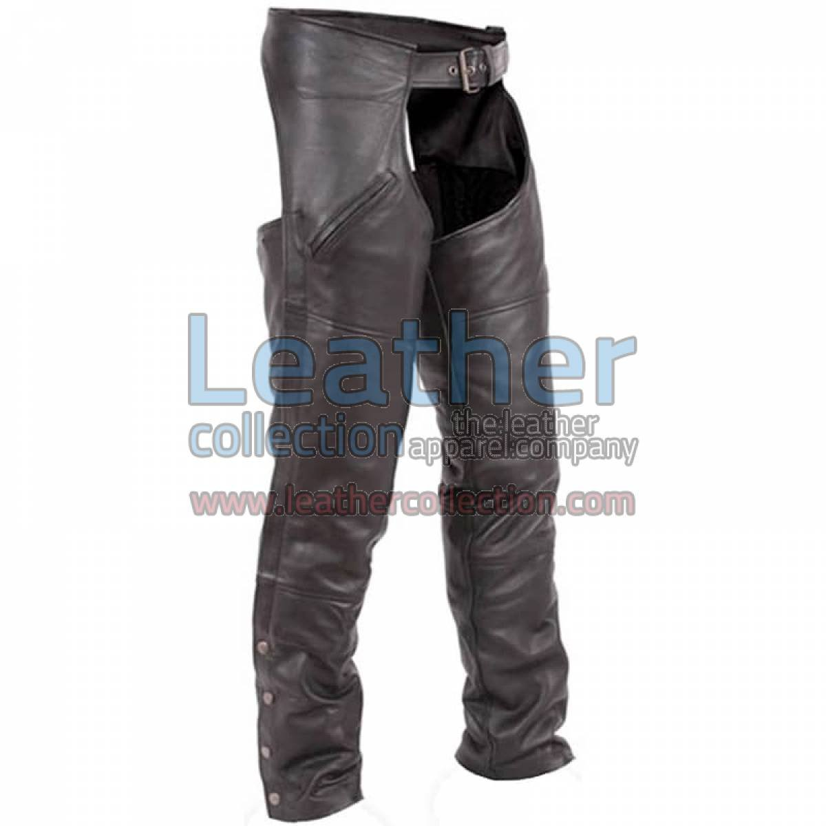 Premium Black Leather Motorbike Chaps