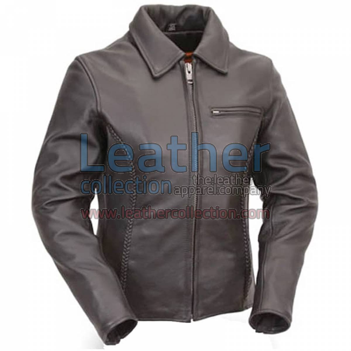Premium Black Naked Leather Braided Cruiser Motorcycle Jacket