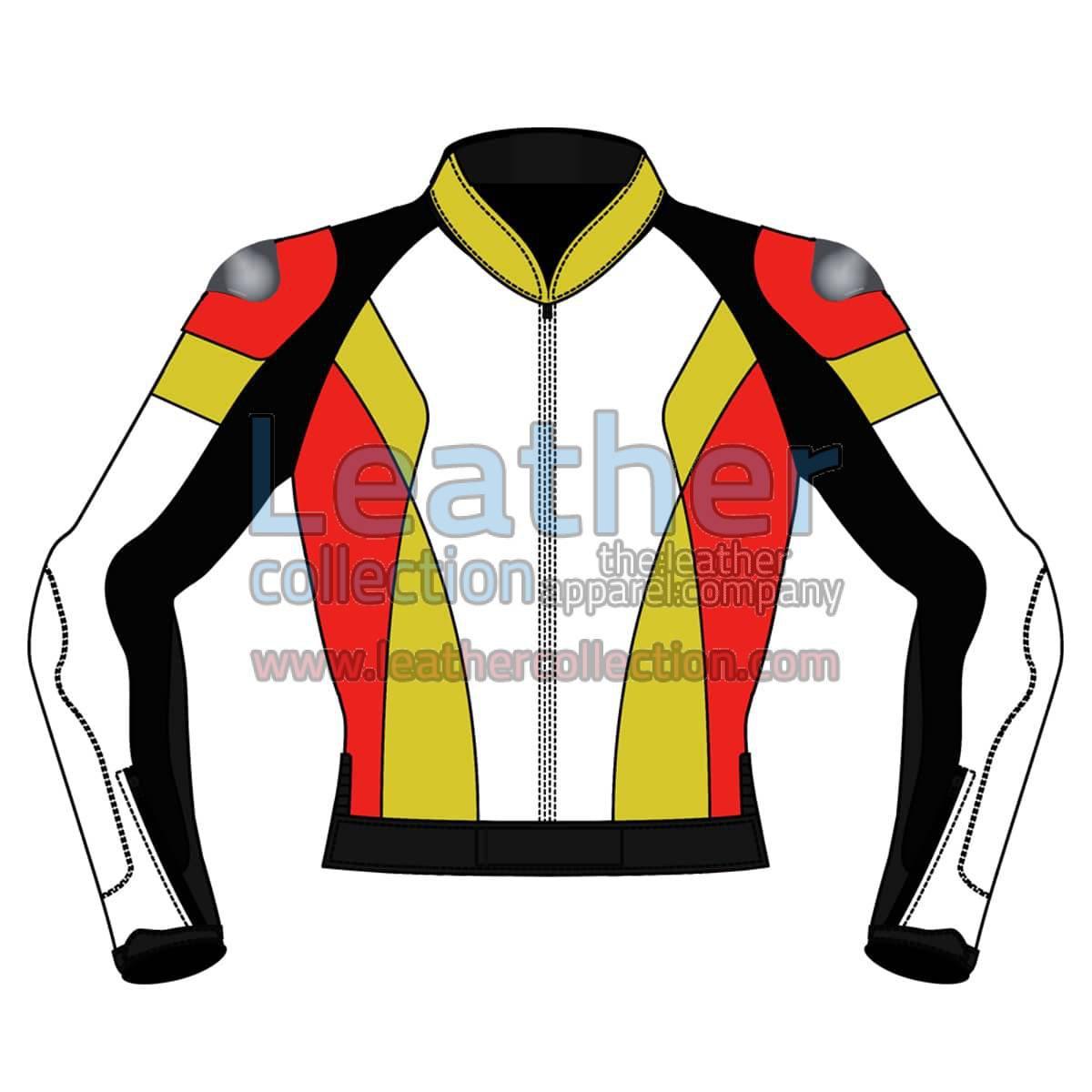 Quad Color Motorbike Leather Jacket For Men