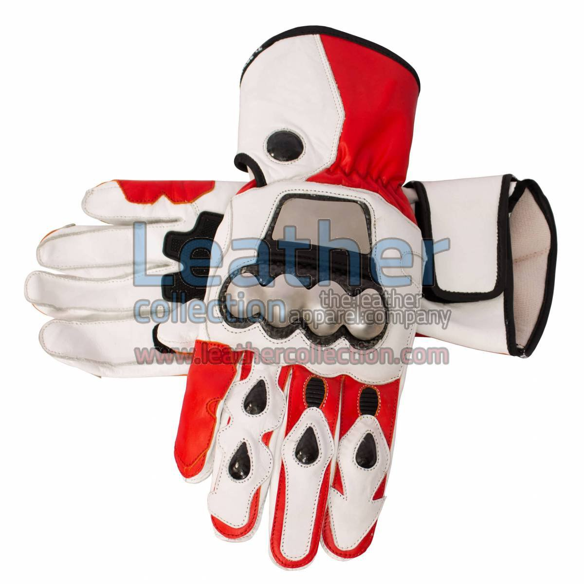 Red and White Motorcycle Leather Gloves