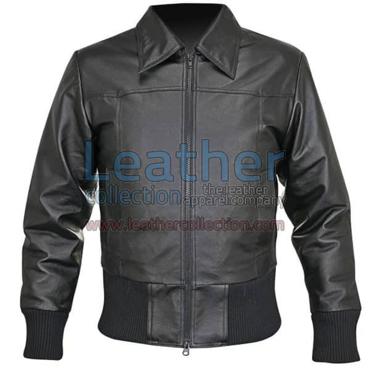 Rib Knit Waist Length Jacket Of Leather