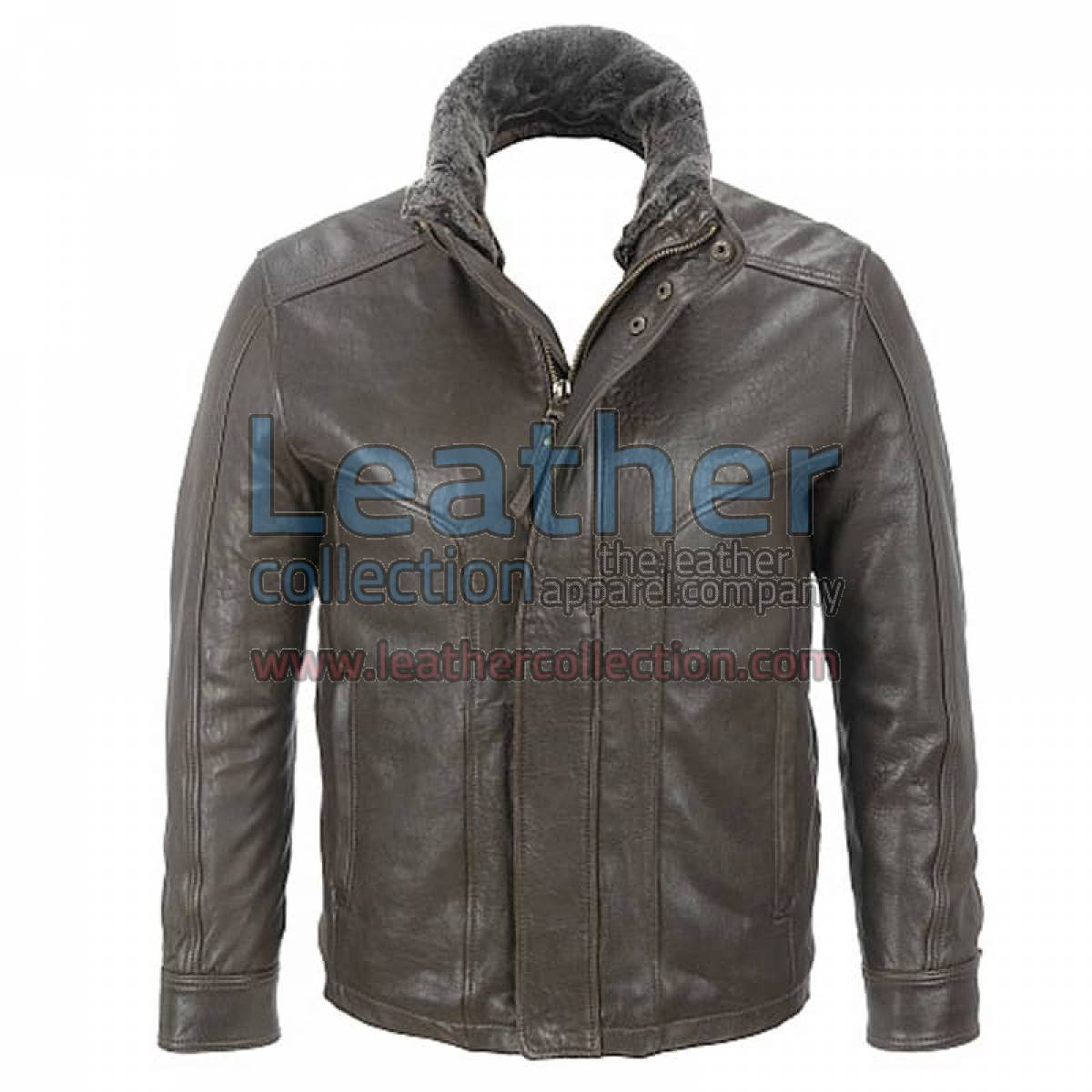 Rugged Leather Jacket with Removable Shearling Collar