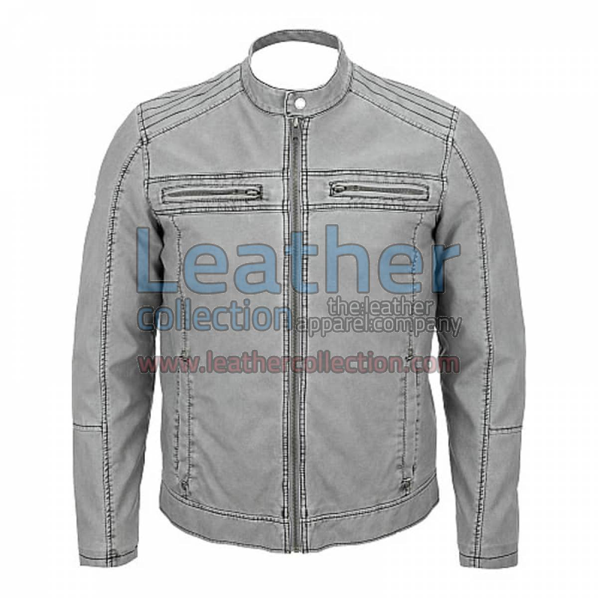 Semi Moto Gray Leather Jacket