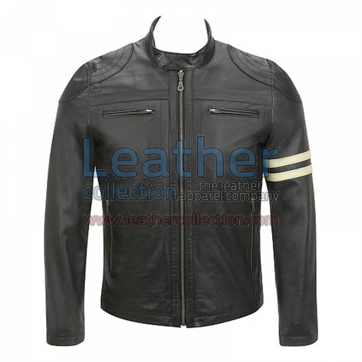 Semi Moto Stripes Leather Jacket