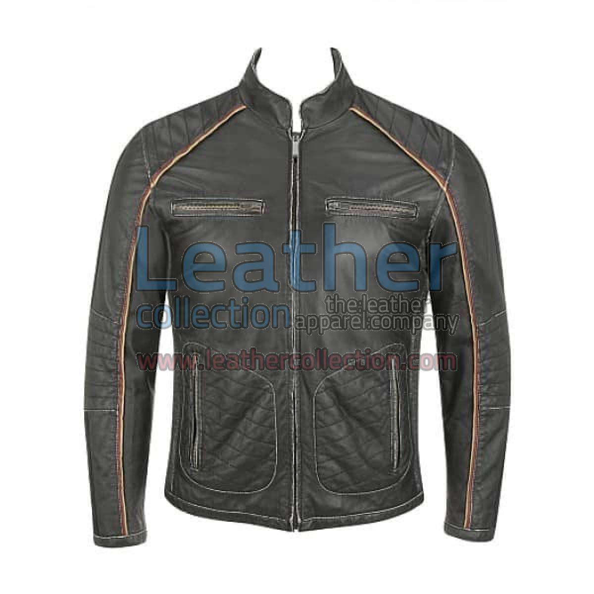 Semi Motorbike Casual Leather Jacket With Piping