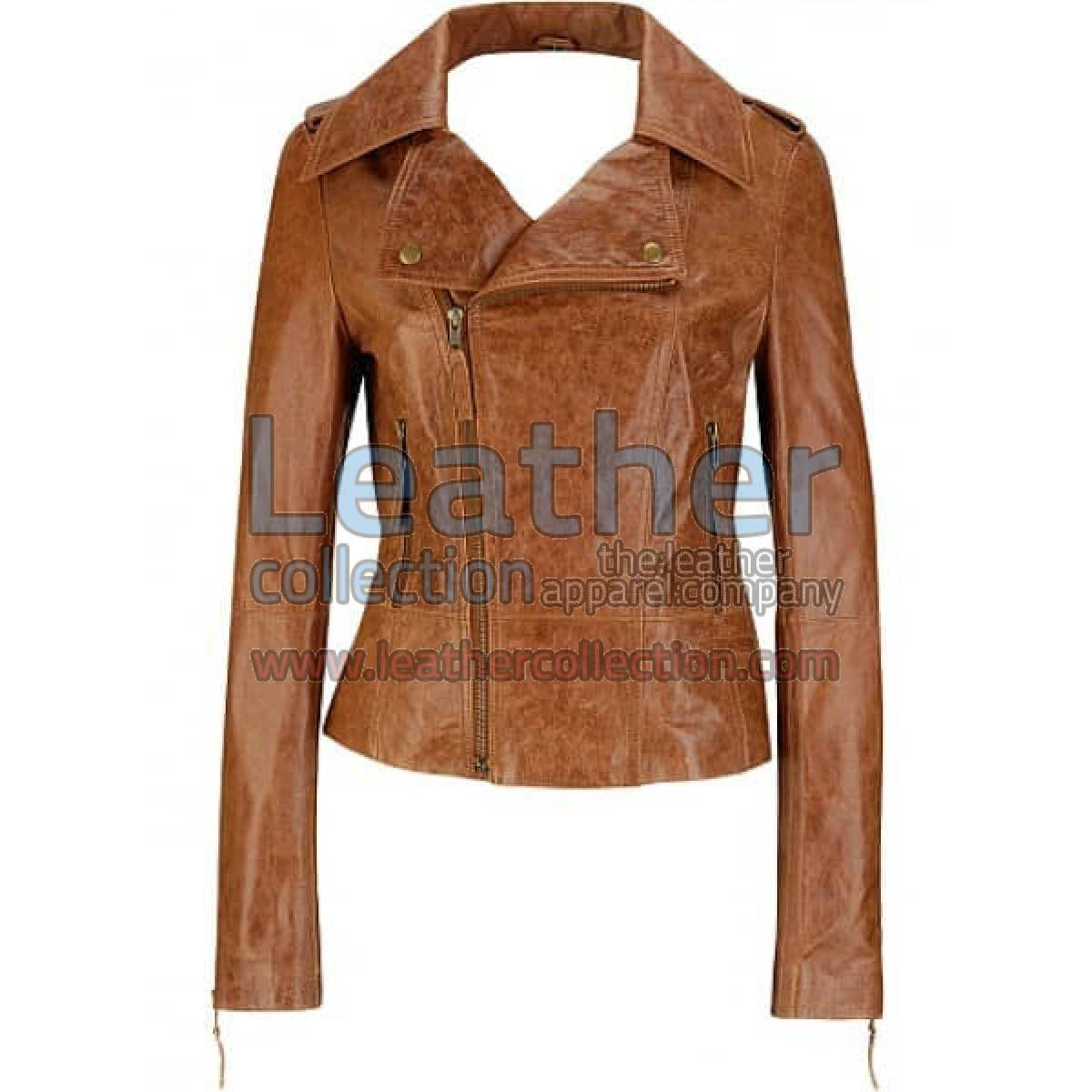 Short Body Distressed Leather Jacket