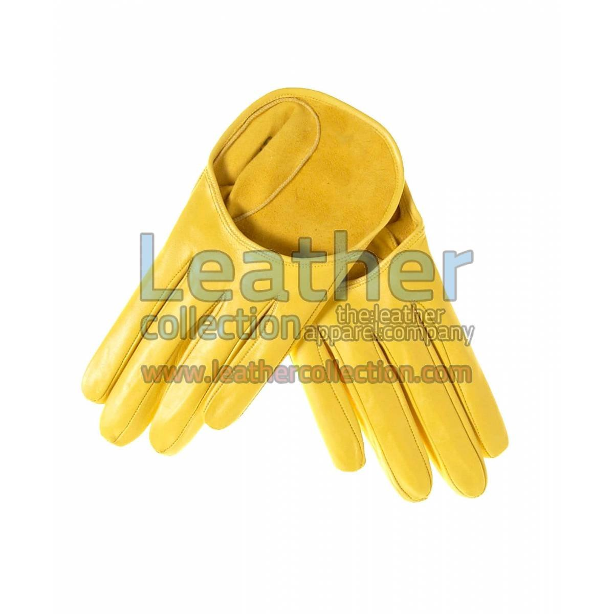 Short Yellow Fashion Leather Gloves