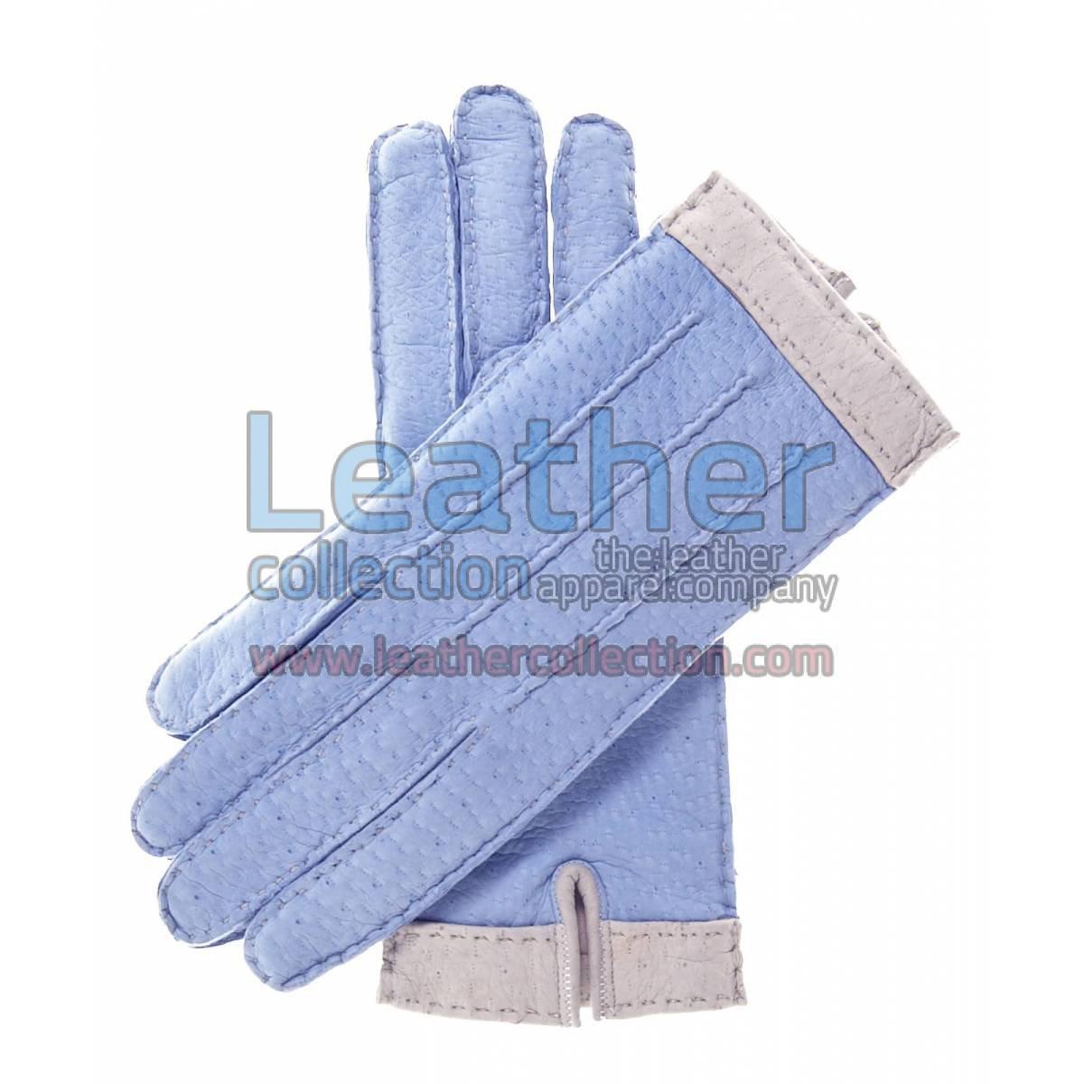 Sky Blue Lambskin Gloves For Women with Wool Lining