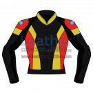 Tri Color Motorbike Leather Jacket For Men