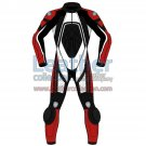 Tri Color One-Piece Motorbike Leather Suit For Men