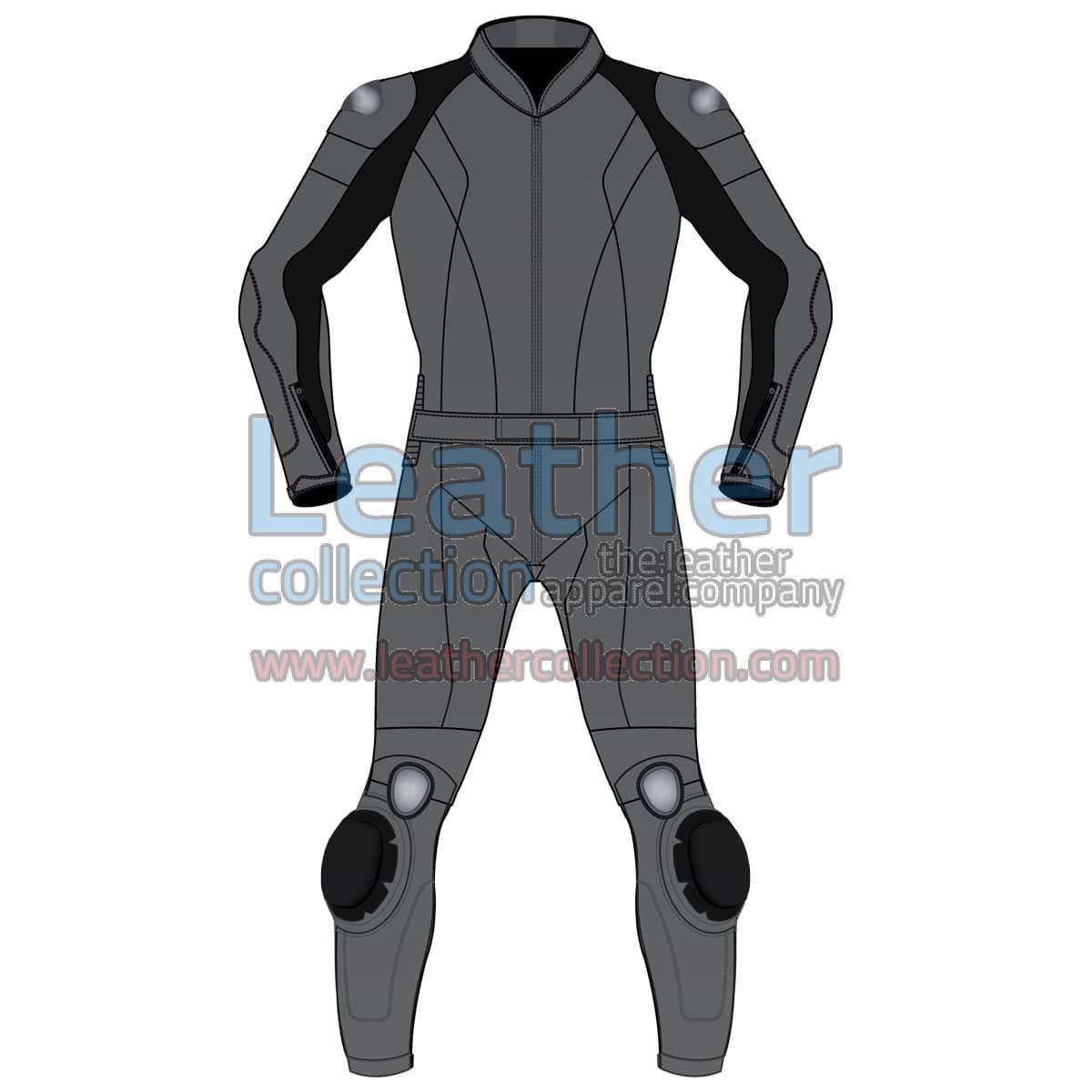 Uni Color Two-Piece Motorbike Leather Suit For Men