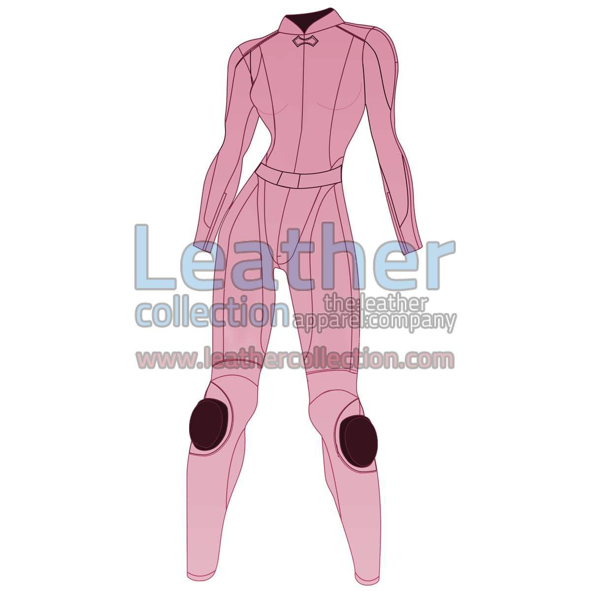 Uni Color Two-Piece Motorbike Leather Suit For Women
