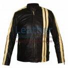 Vertical Strips Biker Fashion Leather Jacket