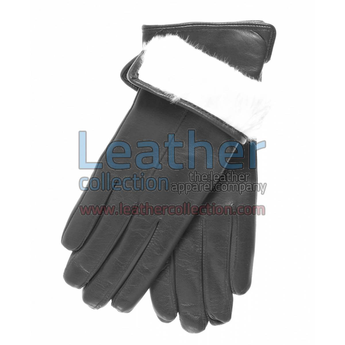 White Fur Lined Black Leather Gloves