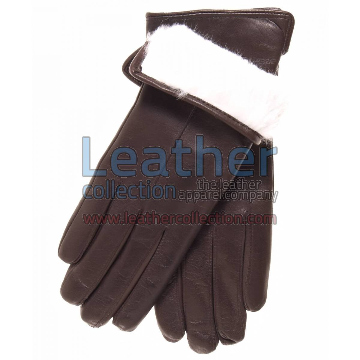 White Fur Lined Brown Leather Gloves