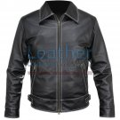 White Stitches Matte Leather Jacket For Men