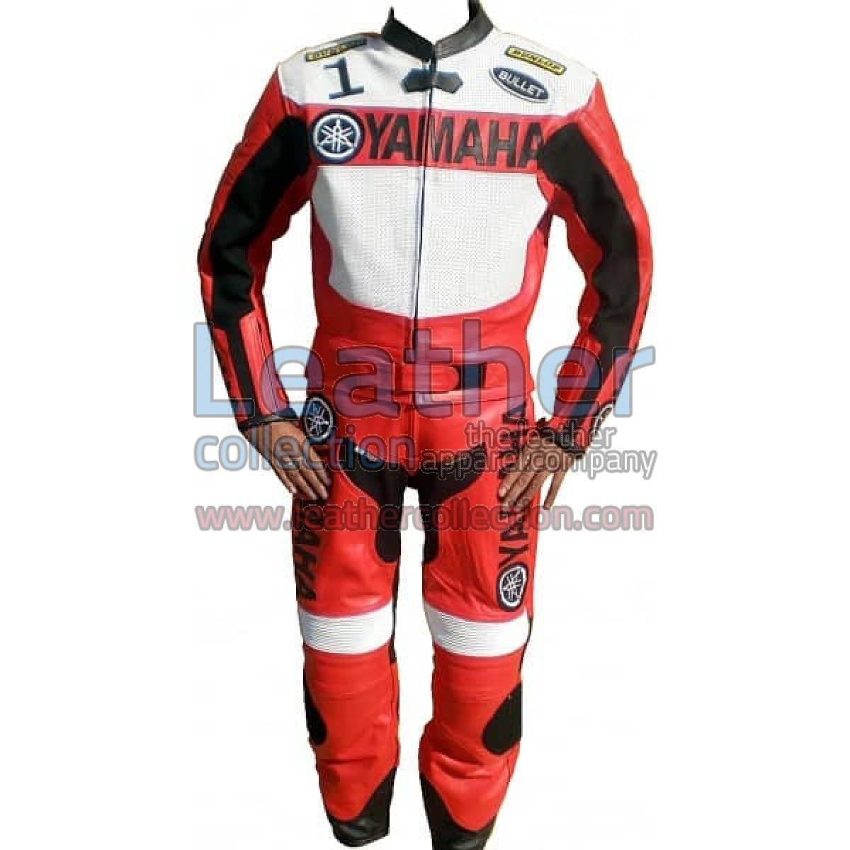 Yamaha Motorbike Leather Suit Red/White