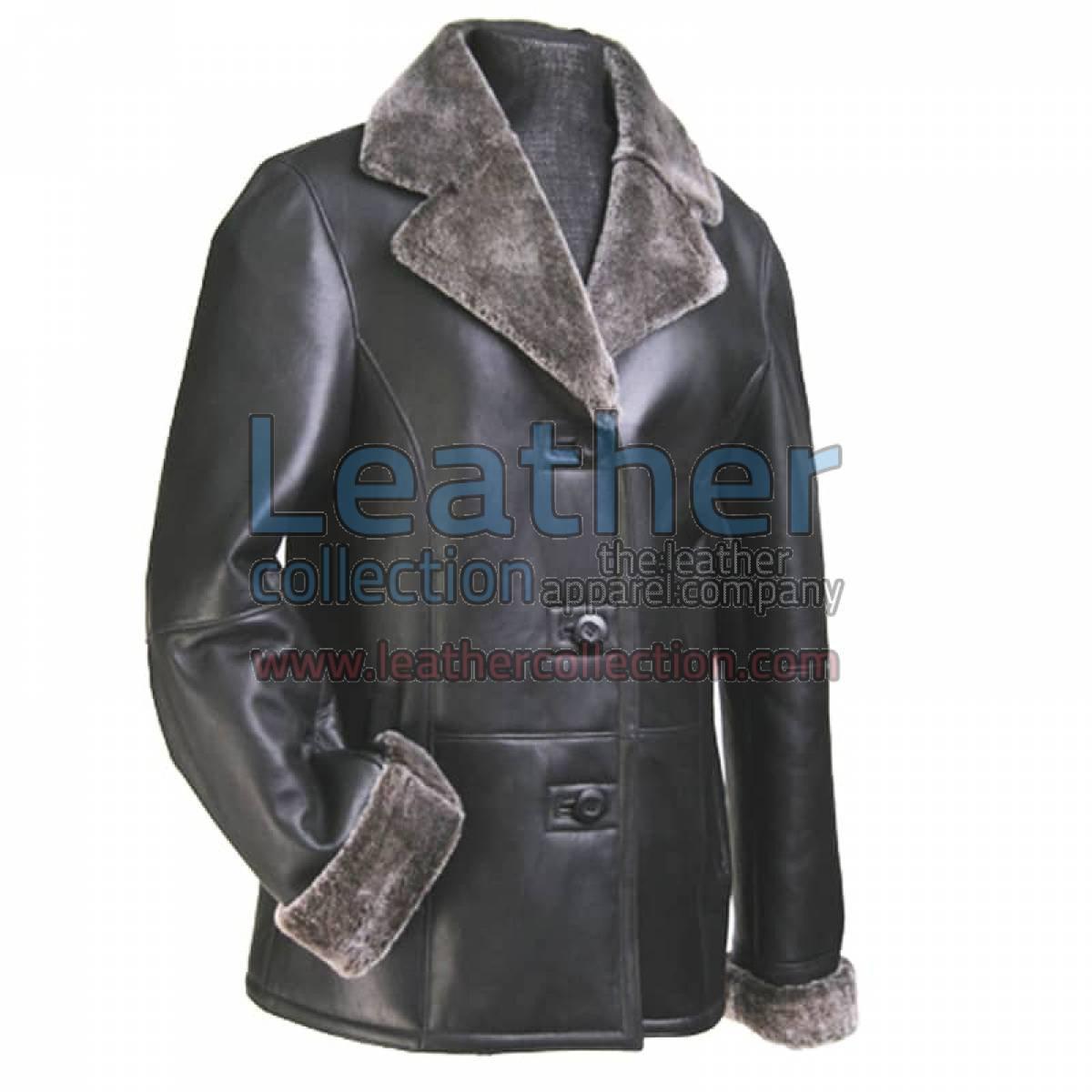 Women Leather Fur Blazer
