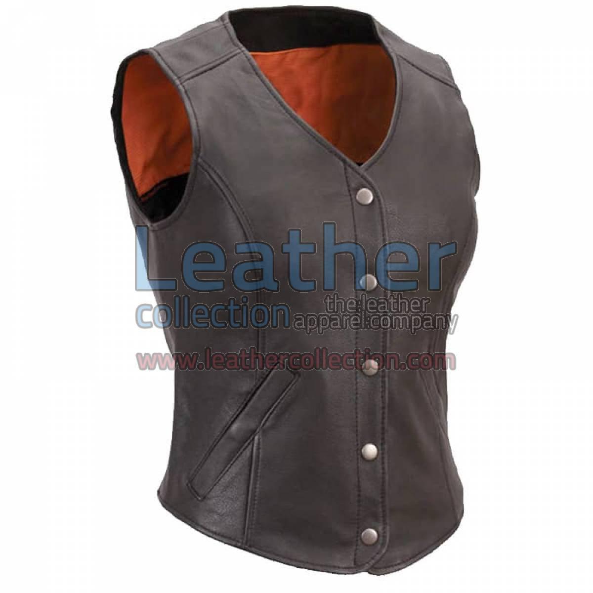 Women Leather Motorcycle Vest