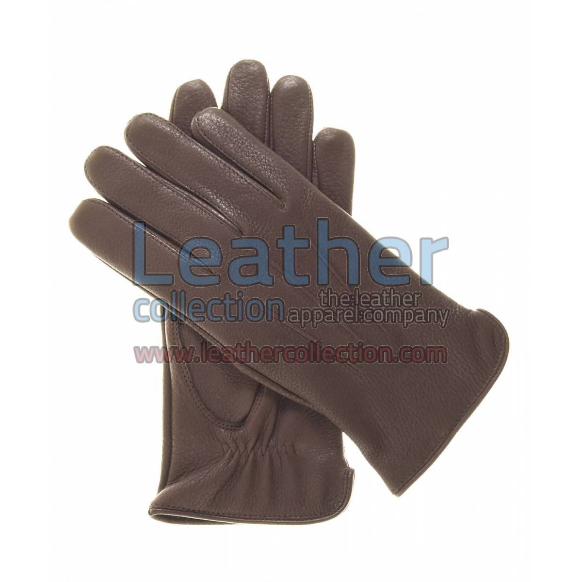 Women Winter Gloves Brown with Wool Lining