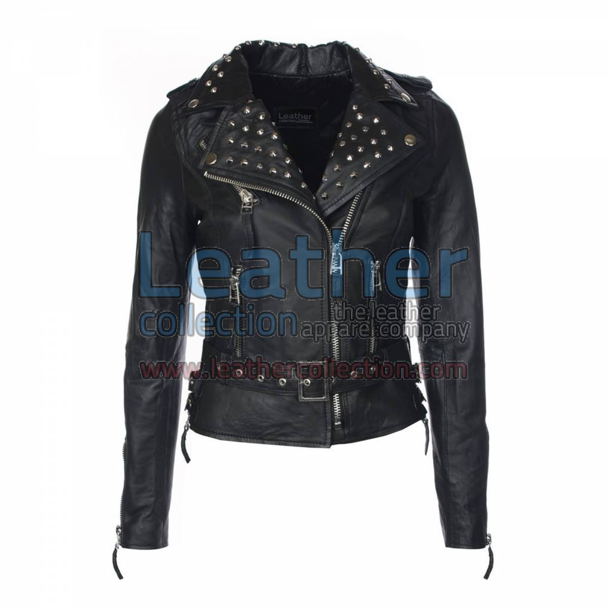 Womens Studded Collar Biker Leather Jacket