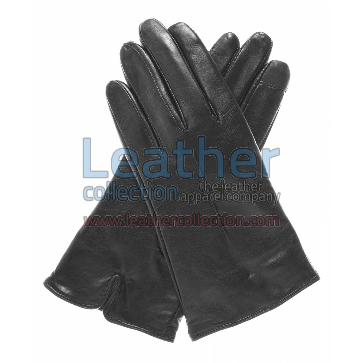 Wool Lined Ladies Black Leather Gloves