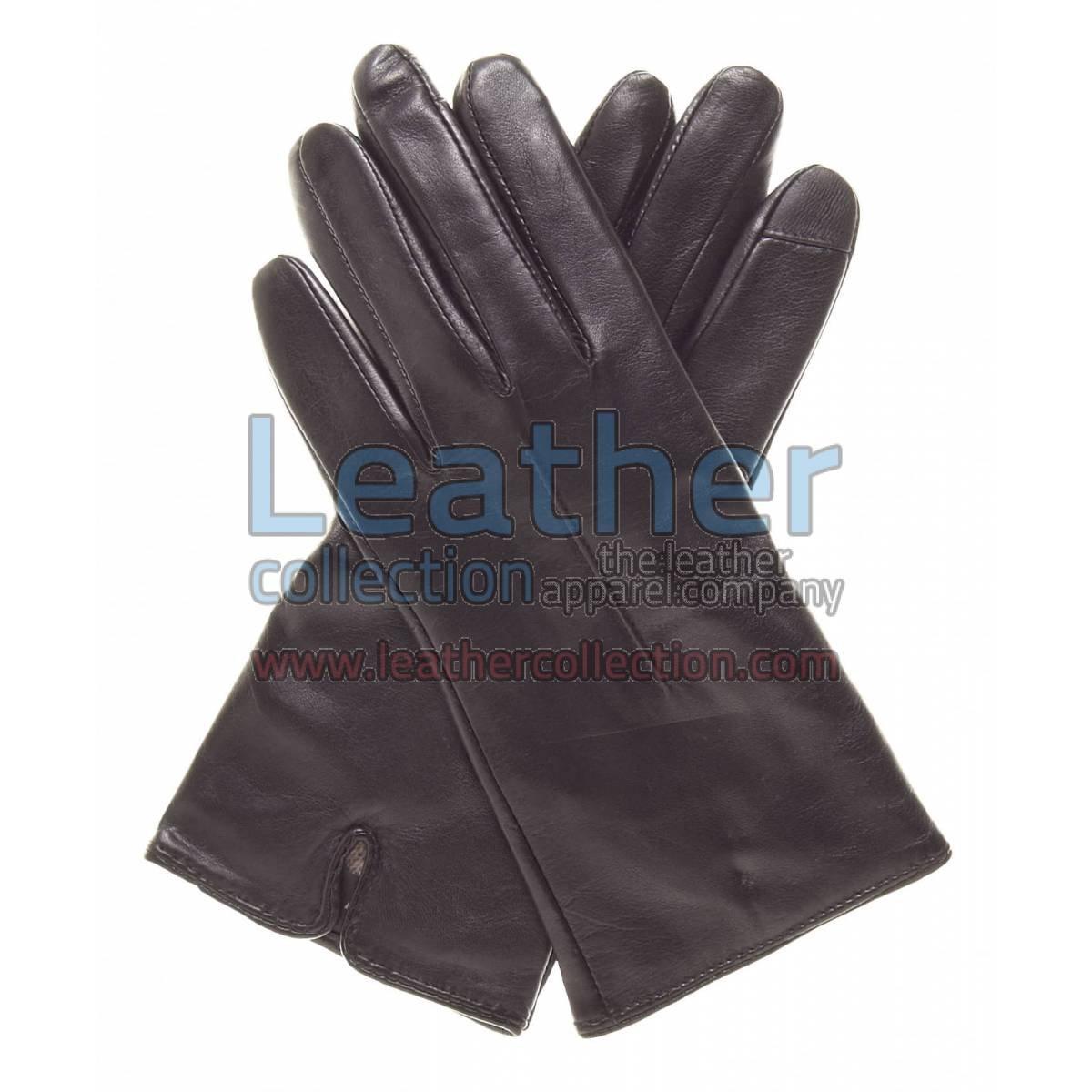 Wool Lined Ladies Brown Leather Gloves
