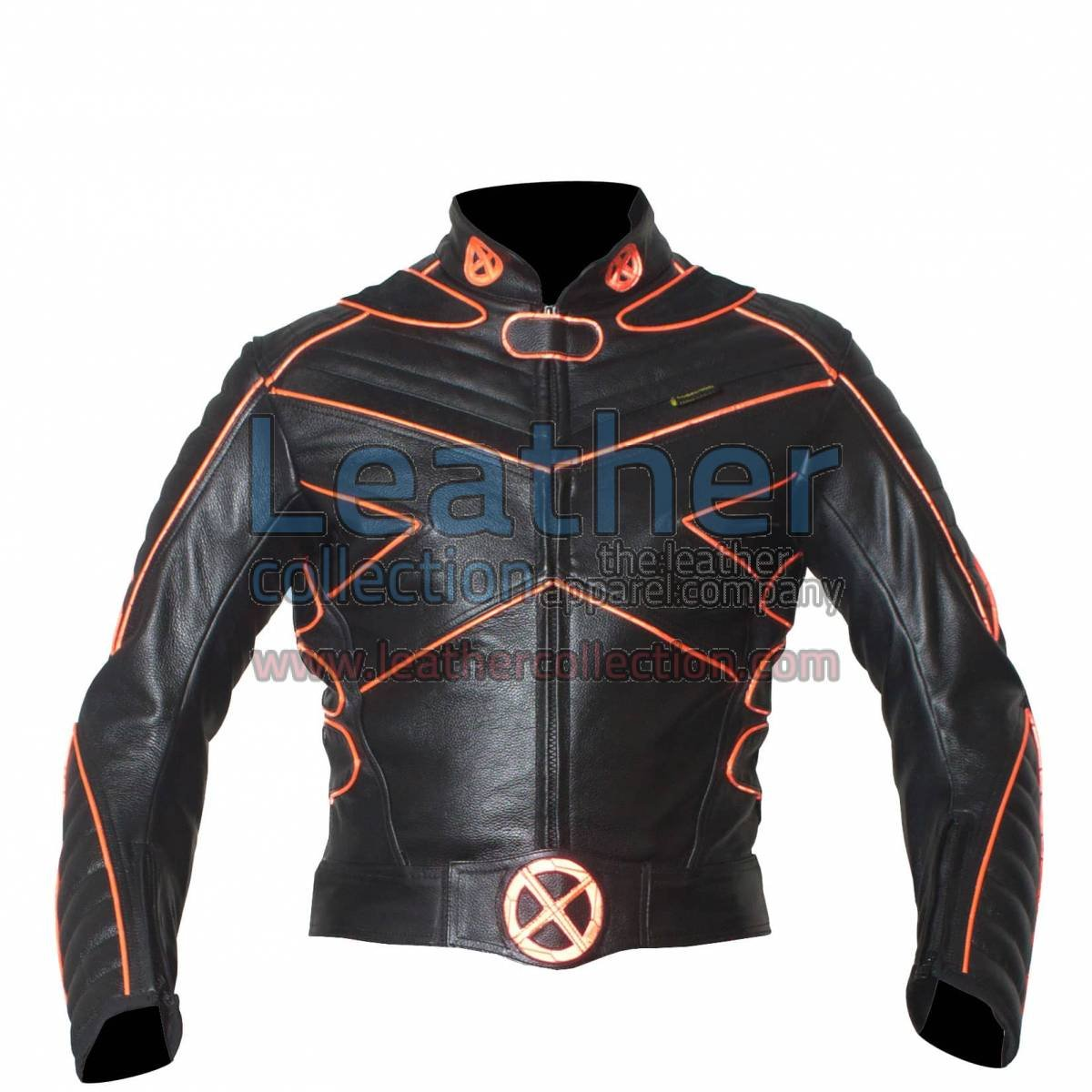X-Man Motorbike Leather Jacket with Orange Piping