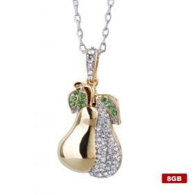 Plated Crystal Stainless Steel USB2.0 Flash Drive Necklace (8GB)