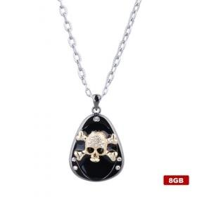 Cool Skull Head Crystal USB2.0 Necklace Flash Drive (8GB)