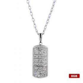 Stainless Steel Crystal USB2.0 Flash drive Necklace (8GB)