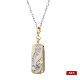 Elongated Stainless Steel Crystal USB2.0 Flash Drive Necklace (8GB)