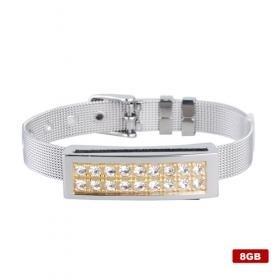 Stainless Steel Crystal USB 2.0 Flash Drive Bracelet (8GB)