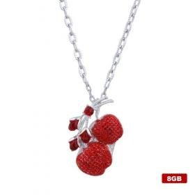 Crystal Cherry Shaped USB2.0 Flash Drive Necklace (8GB)