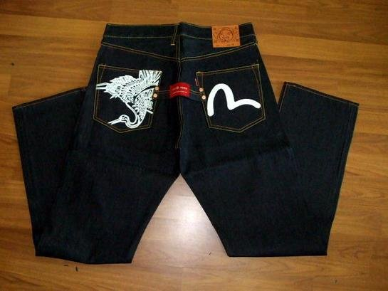 Evisu Jean with logo and crane