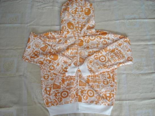 BAPE  hoodie: orange and white