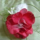 Red open rose w. tule