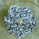 Blue and brown fabric  flower