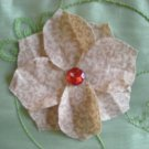 Beige fabric flower pin and head pin