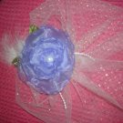 Purple organza flower sparkly tulle sm. veil