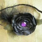 Black organza headband flower